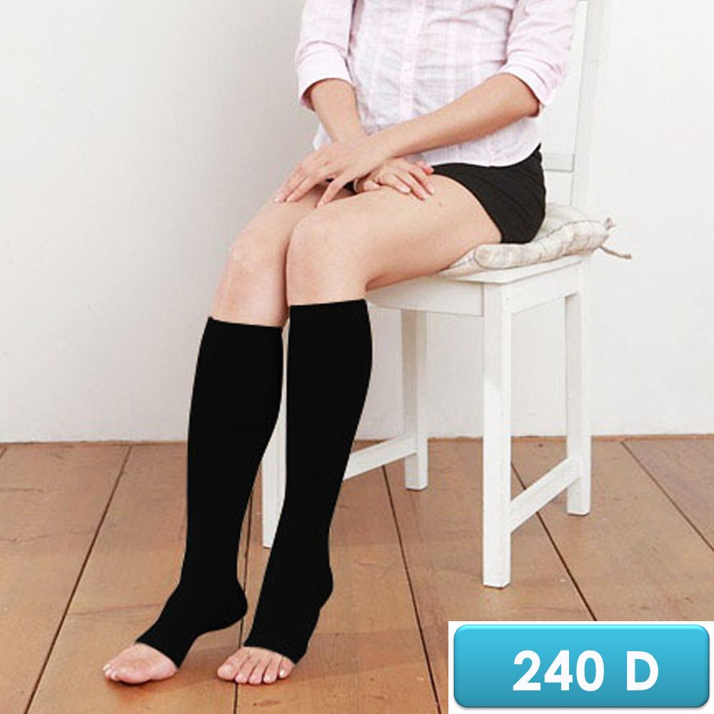 誠益, 露趾小腿彈性襪, 240丹尼數超細纖維+萊卡漸進式壓力 款