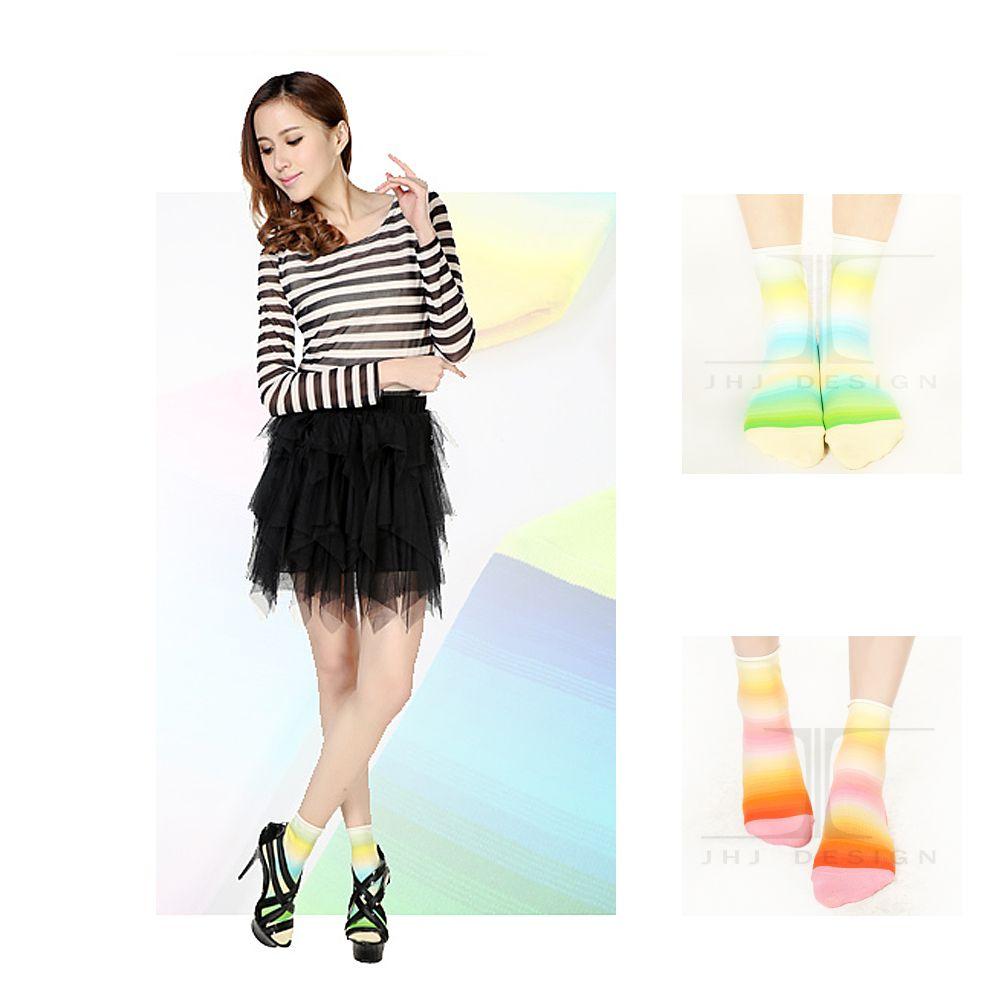 HummingBird, 短襪, 棉花糖系列-檸檬/橘子條紋高彩針織 款