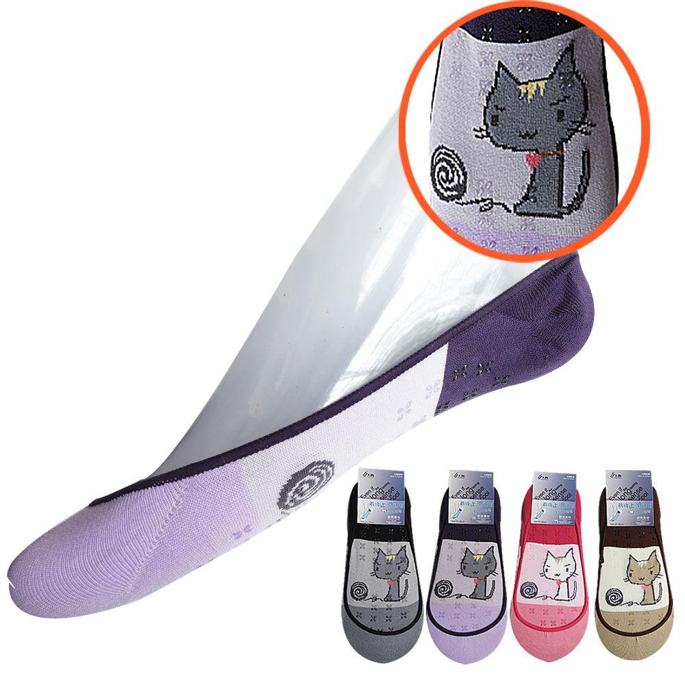 本之豐 女人物, 女性船襪/隱形襪, CoolBest II 涼感紗超細纖維止滑喵星人圖案 款