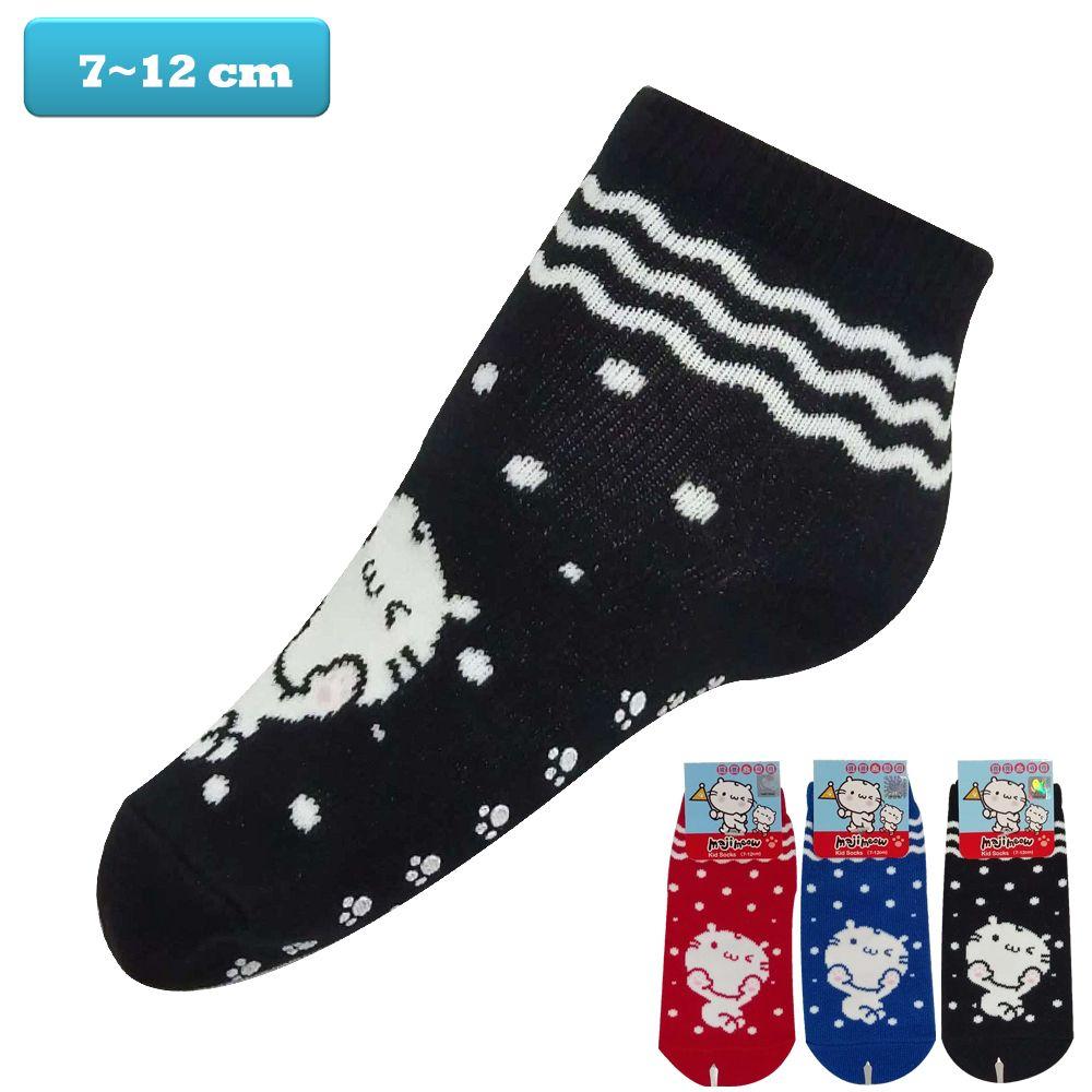 麻吉貓 majimeow, 嬰兒/幼兒短襪, 棉質波浪點點麻吉貓圖案止滑 款
