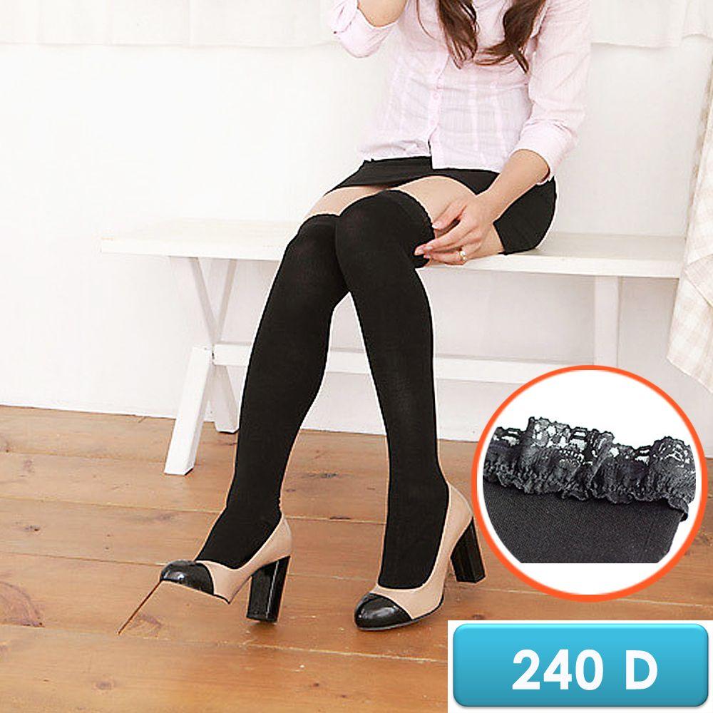 誠益, 女性長統彈性襪, 240丹蕾絲萊卡漸進式壓力大腿/膝上襪 款